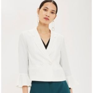 Topshop Cropped White Bell Sleeve Blazer
